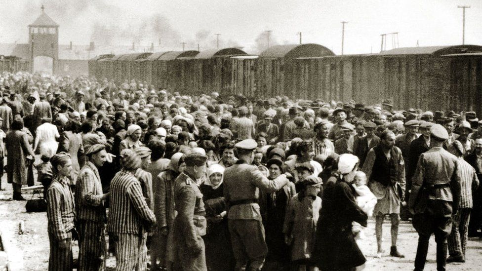 Hungarian Jews arriving at Auschwitz in June 1944