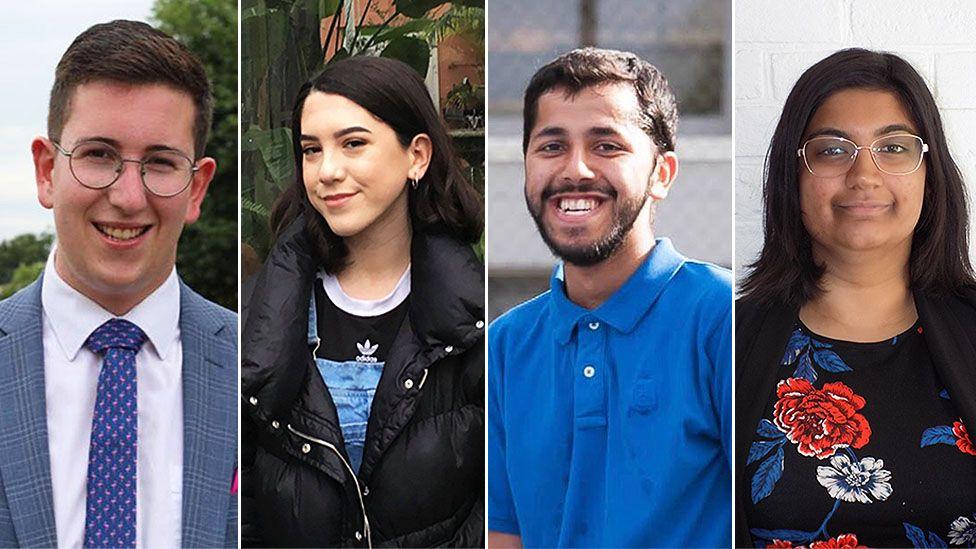 Josh Collins, Alicia Brostoff, Bilal Malik and Aaminah Saleem