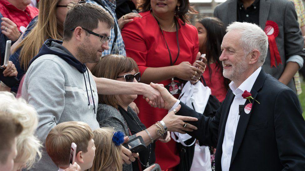 Jeremy Corbyn at a rally