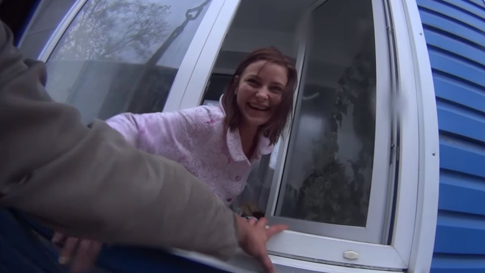 Yelena Gorbunova greets her birthday van suspended from a crane, Biysk, Siberia, September 2017