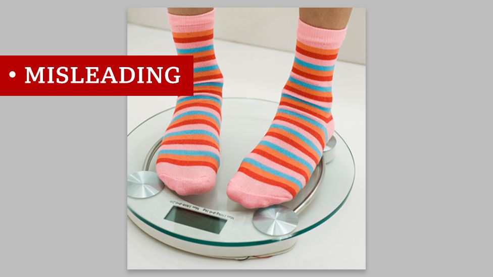 Picture of someone in stripy socks on scales, tagged misleading