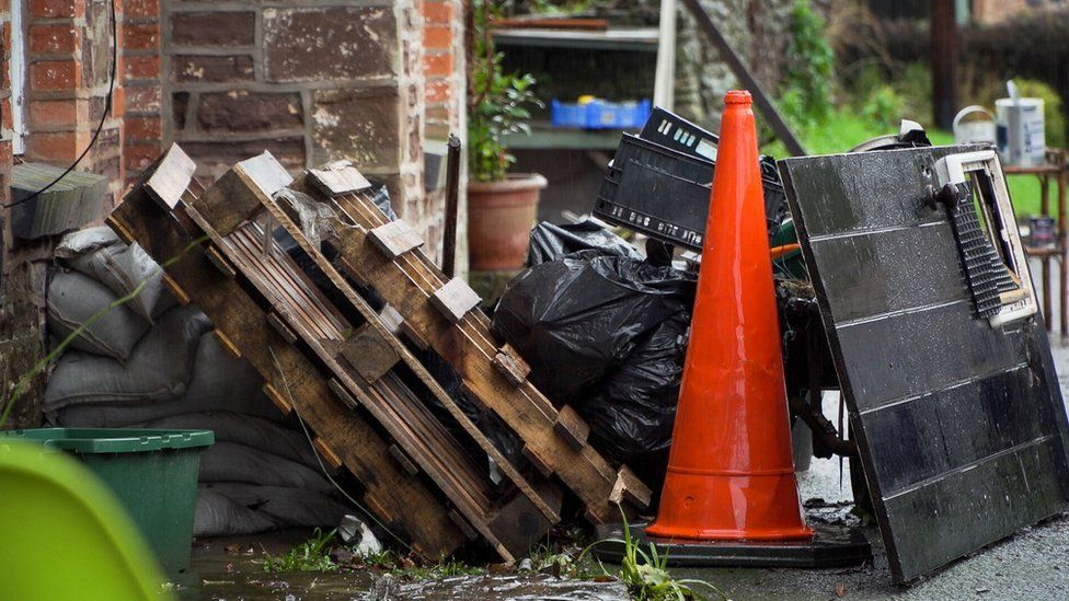 People's possessions outside a property in Skenfrith