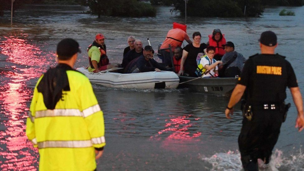 People are rescued in Houston, Texas on 27 August