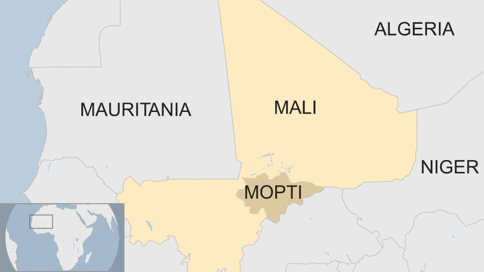 Map shows the region of Mopti in Mali