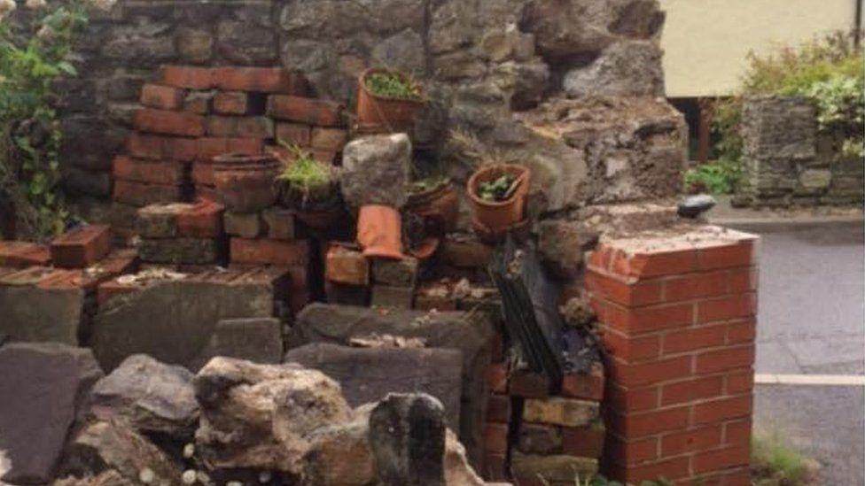 A damaged wall