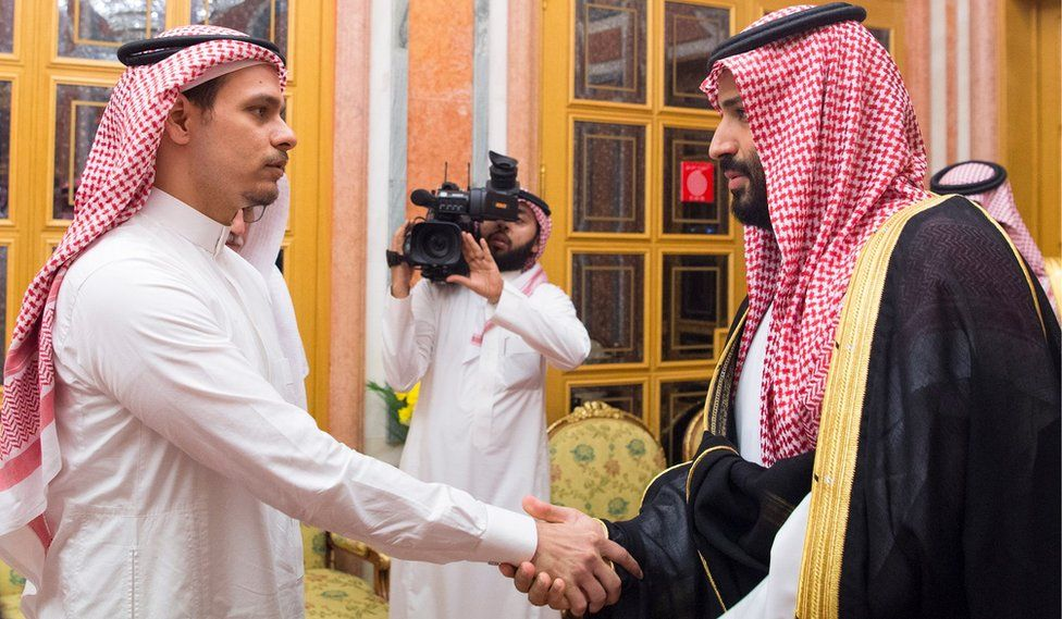The Saudi crown prince (R) meets Khashoggi's son, Salah, in Riyadh