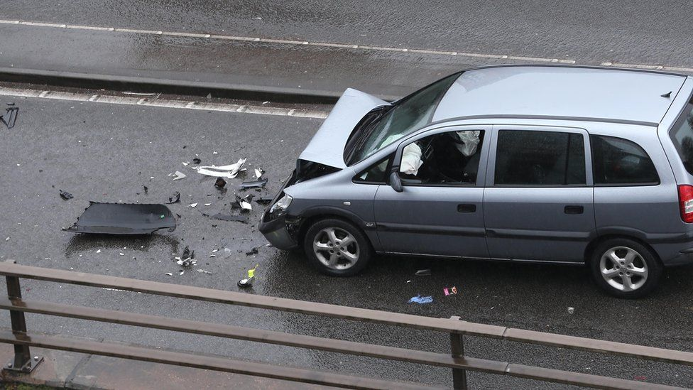 Two people escaped with minor injuries from the crash