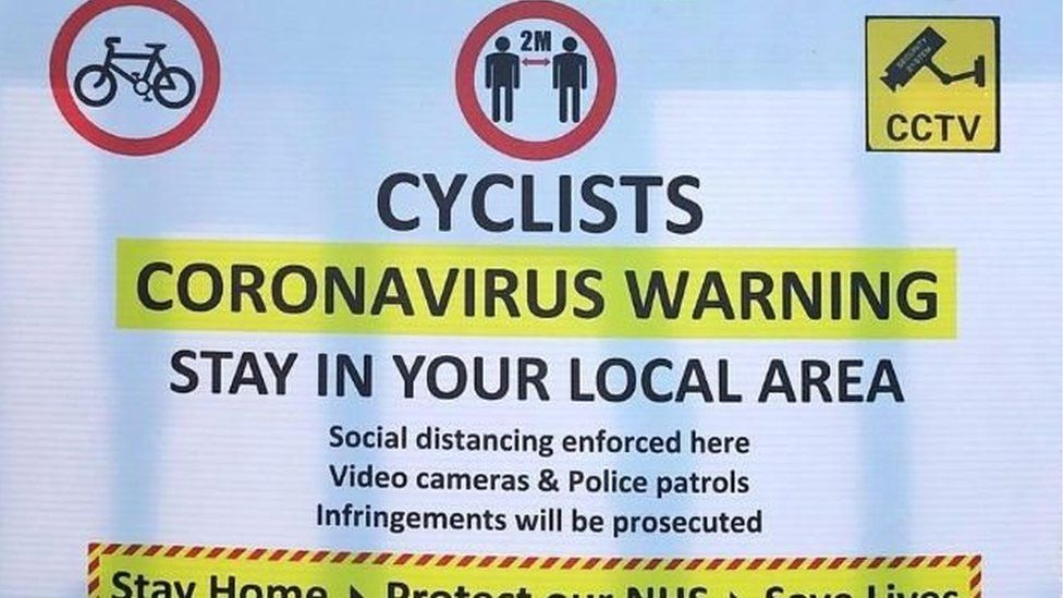 Sign in Little Bollington telling cyclists to stay away