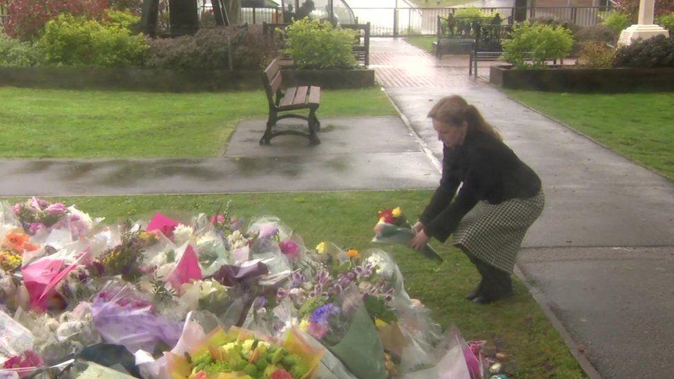 Natalie Elphicke lays flowers in Aylesham