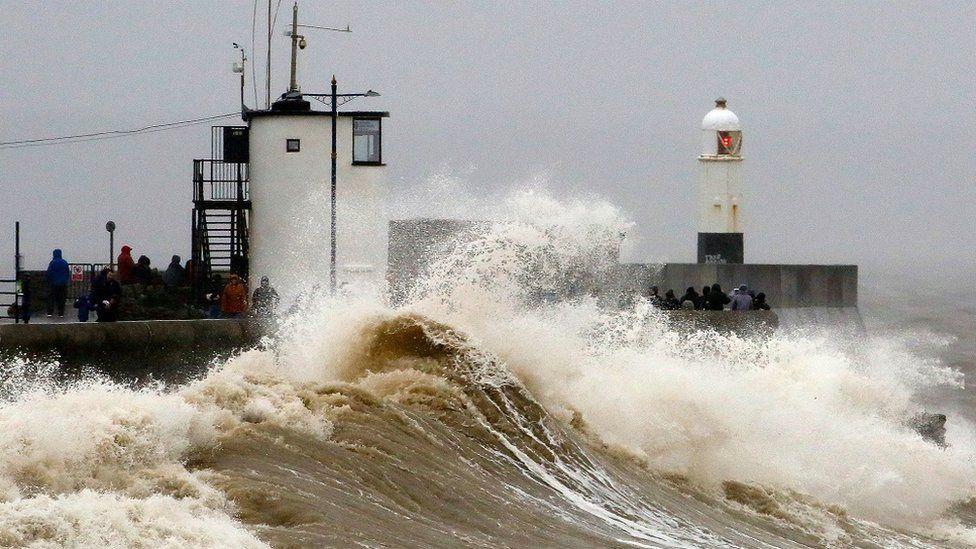 Waves at Porthcawl, south Wales