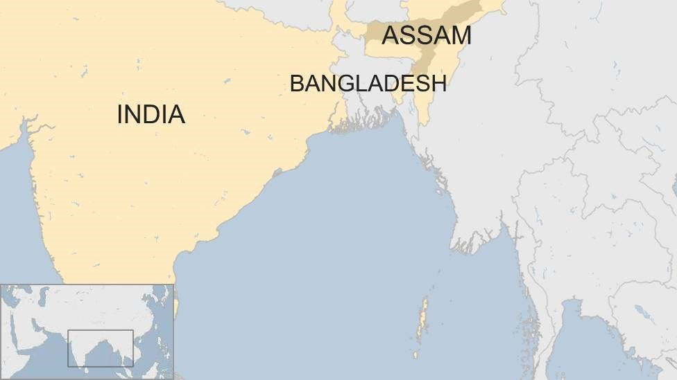 Map showing Assam and Bangladesh
