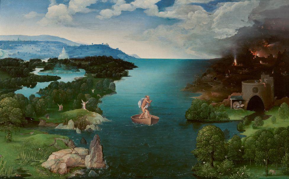 El paso de la laguna Estigia (Landscape with Charon Crossing the Styx) by Joachim Patinir