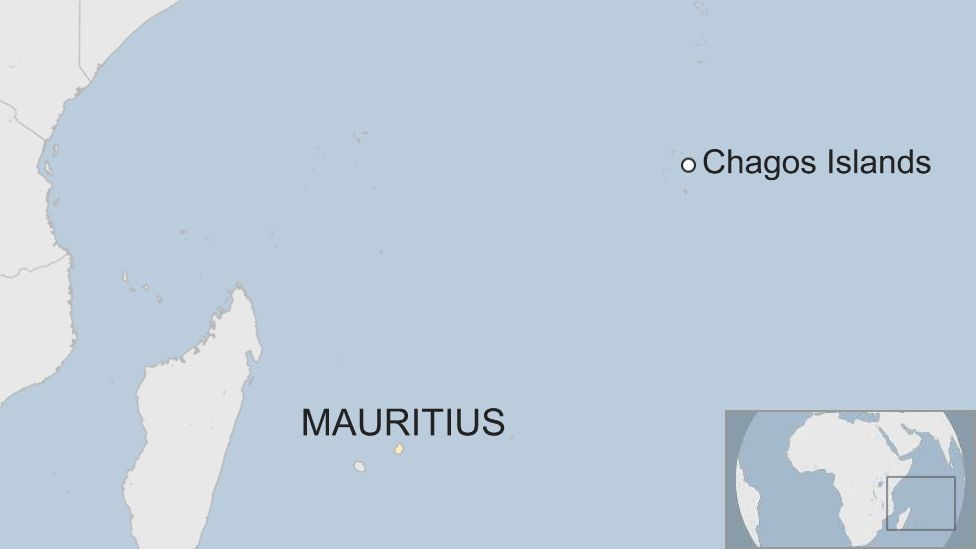 Map showing Mauritius and the Chagos Islands