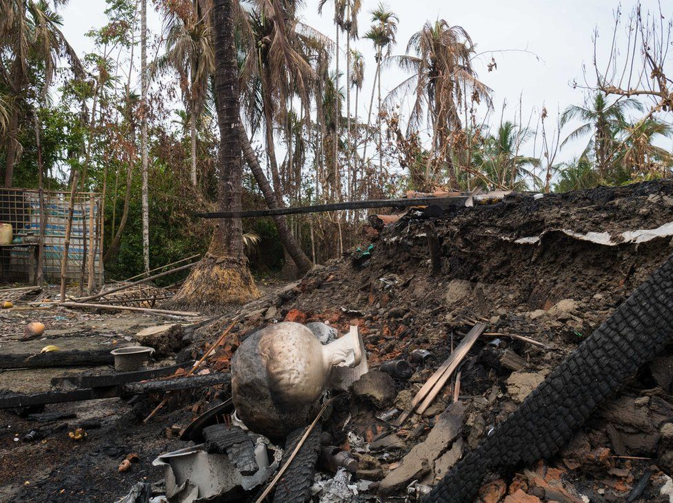 Picture of burnt out village Alel Than Kyaw in Myanmar