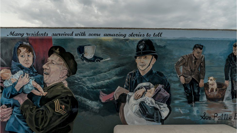 Canvey's sea wall has several murals portraying the 1953 flood