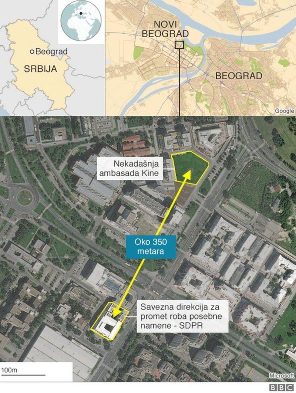 Mapa pokazuje lokaciju kineske ambasade, 350 metara od zgrade SDPR-a