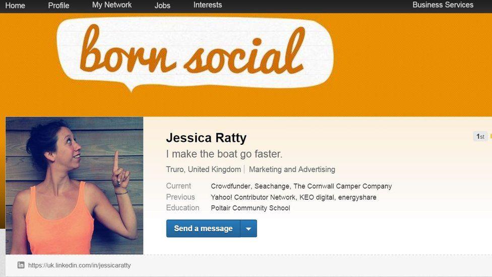 Jess Ratty LinkedIn profile page