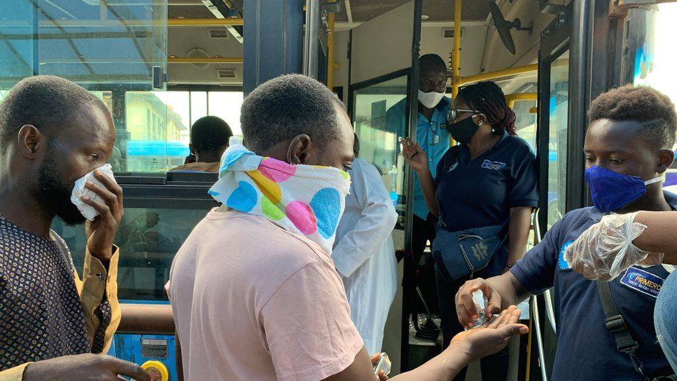 Lagos bus station passengers