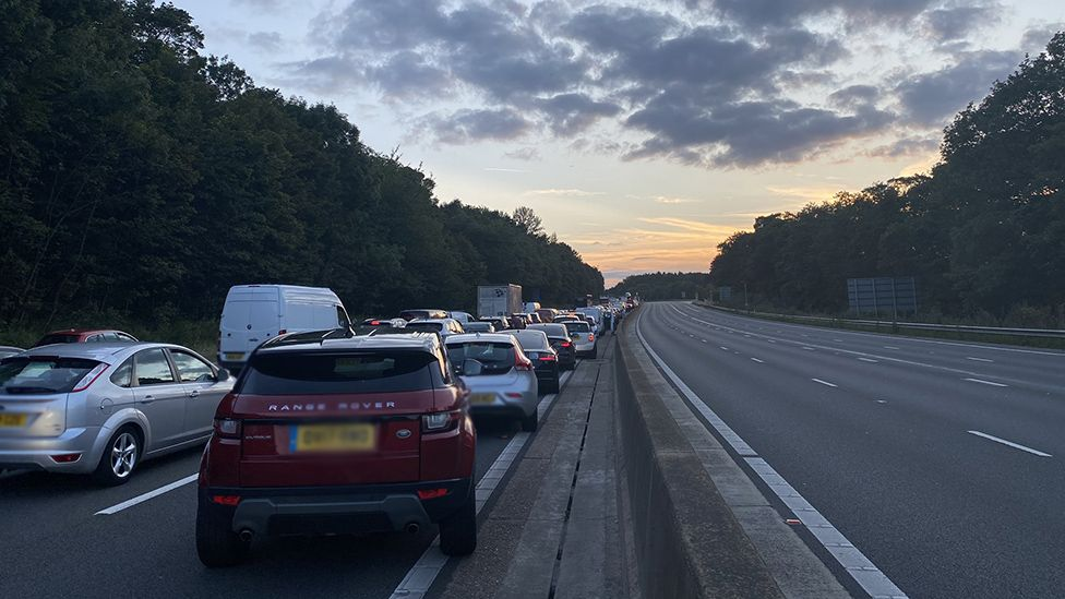 The anti-clockwise carriageway of the M25 is closed between junctions 26 and 27