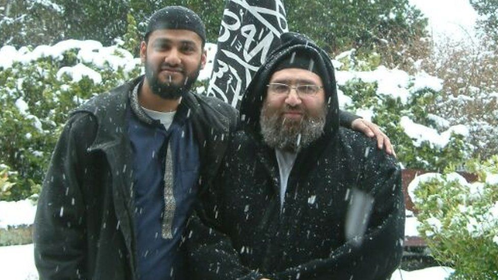 MI5 target Rajib Khan with his spiritual mentor Omar Bakri Mohammad, who is now in jail in Lebanon