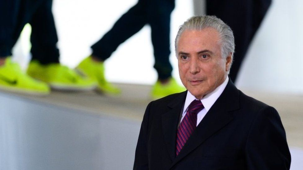 Michel Temer attends a ceremony with the Rio 2016 Olympic medallists, in Brasilia, on August 29, 2016.