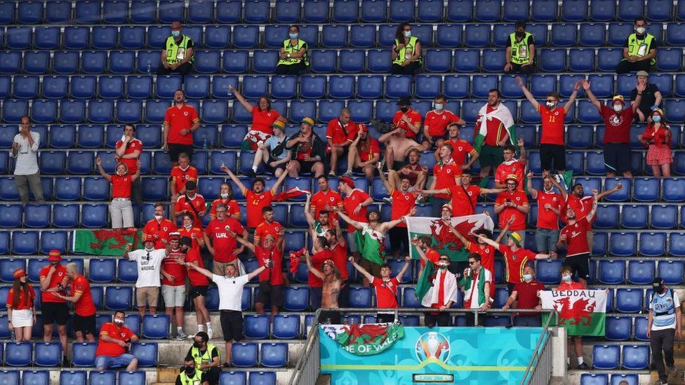 Wales fans in the Stadio Olympico in Rome