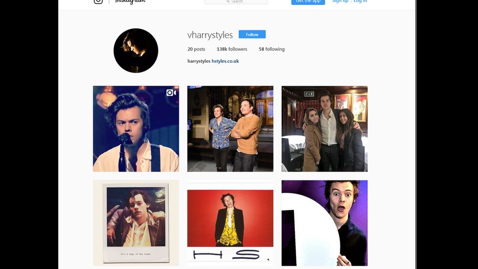 This fake Harry Styles Instagram account has now been shut down.