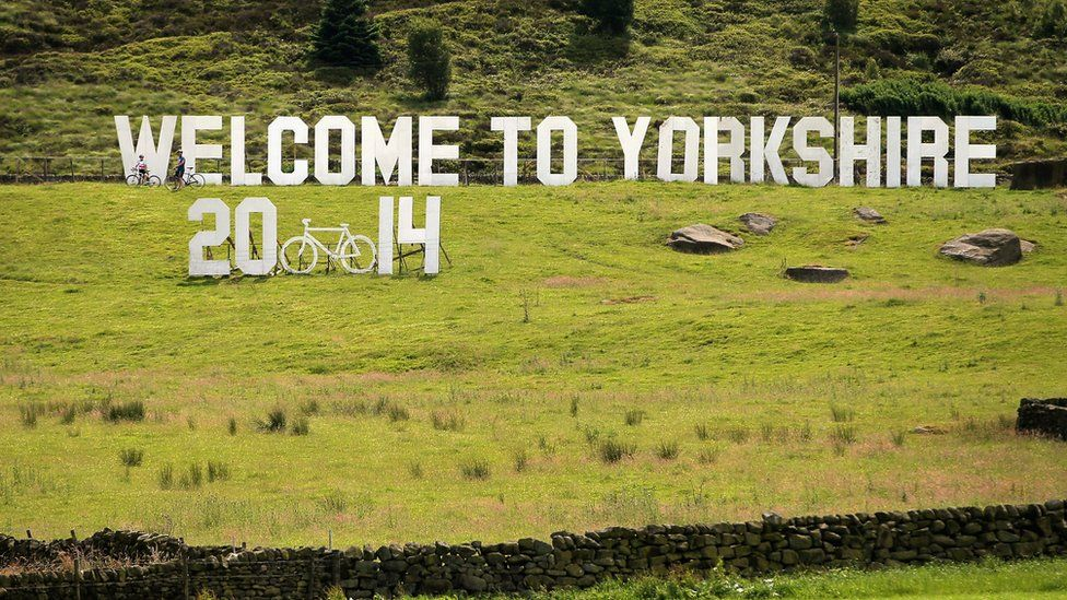 Sign marking the Tour de France in Yorkshire