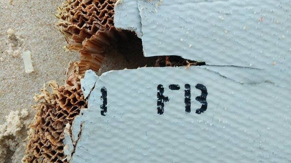 Close up of possible piece of MH370 debris found in Madagascar - June 2016