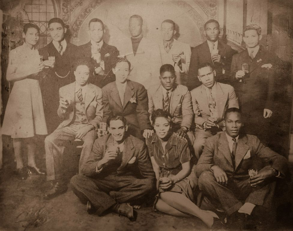 Photograph of Barclay (bottom right) with fellow West Indian volunteers