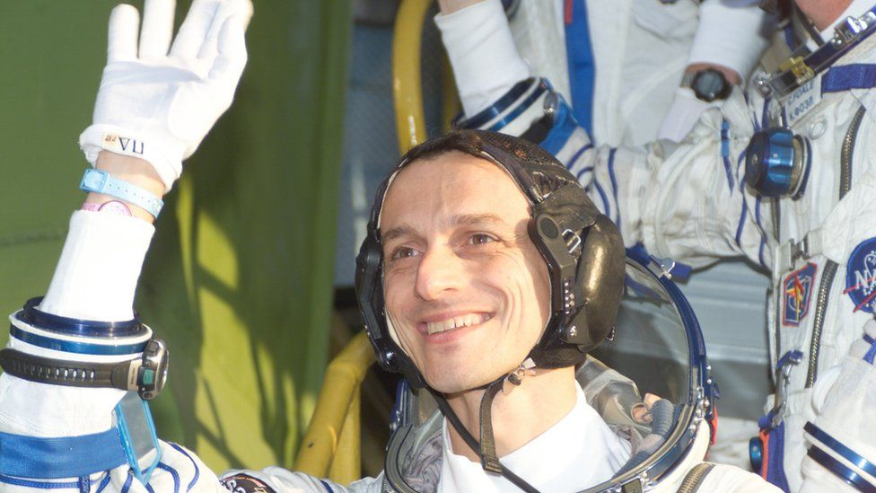 European astronaut Pedro Duque climbs the steps to the Soyuz TMA-3 capsule on the launch pad before the launch of the Cervantes Mission at 05:38 GMT on 18 October 2003 (Baikonur Cosmodrome, Kazakhstan).