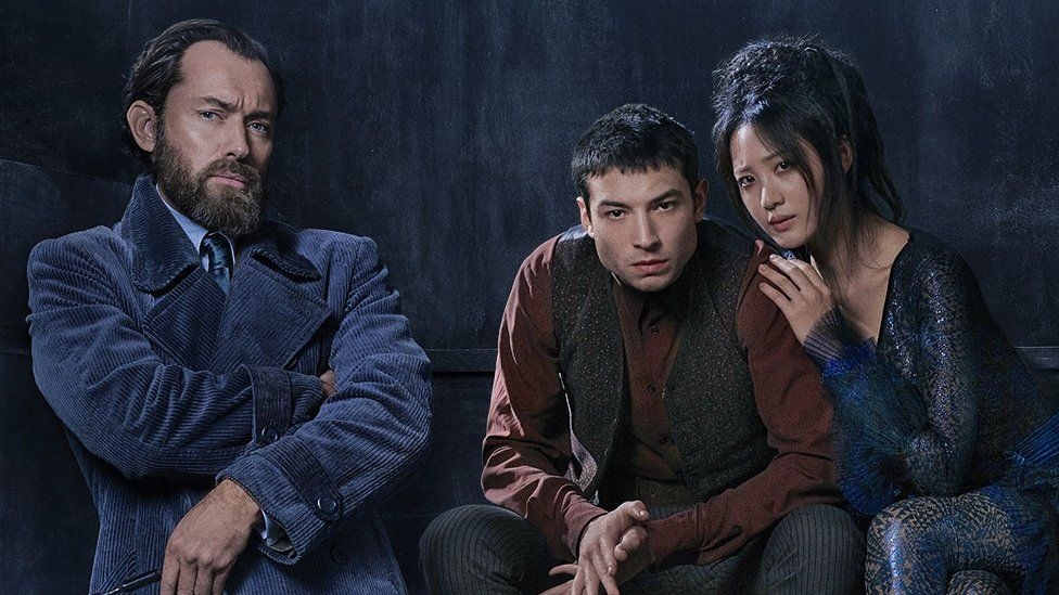 Jude Law as young Albus Dumbledore, Ezra Miller as Credence and Claudia Kim as Nagini