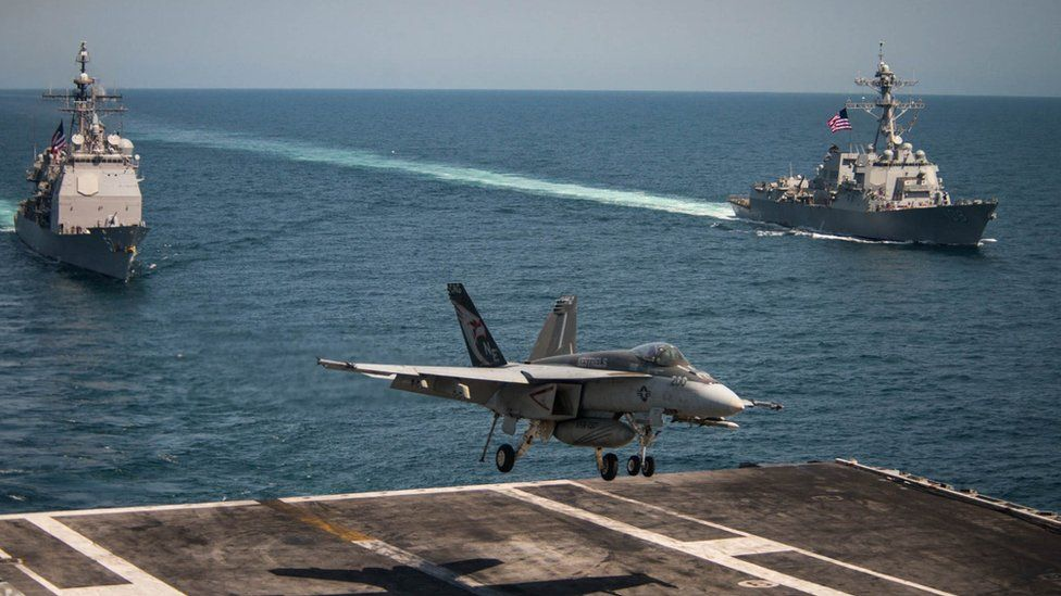 Scene from the flight deck of aircraft carrier USS Carl Vinson on May 3, 2017 in the western Pacific Ocean