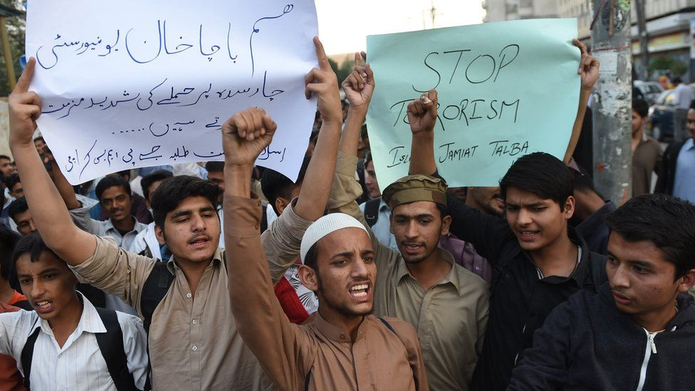 "Students of Islami Jamiat Talaba (IJT) shout slogans against the militants"" attack on Bacha Khan university"