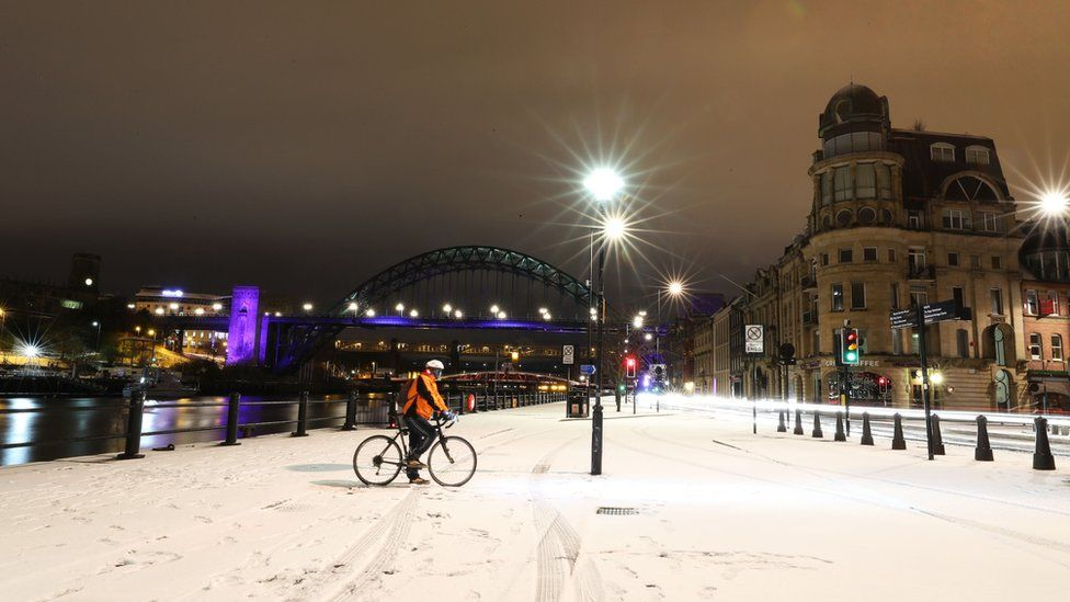 Snow on Newcastle quayside