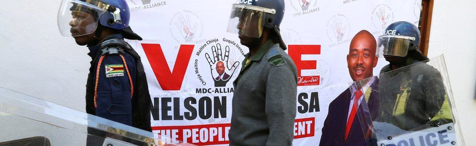 Riot police at the MDC Alliance press conference in Harare, Zimbabwe
