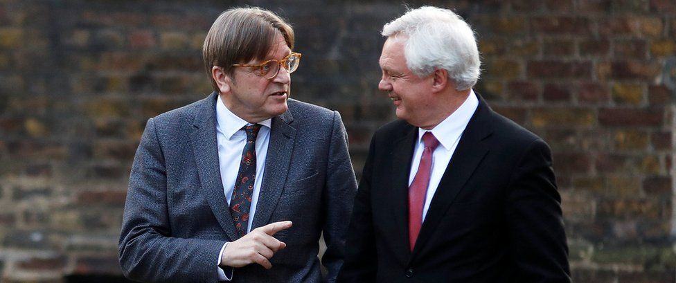 Guy Verhofstadt, the European Unions chief Brexit negotiator, and Britain's Secretary of State for Exiting the European Union David Davis walk up Downing Street in London, March 6, 2018