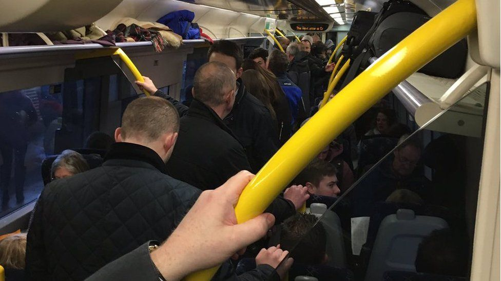 Train crowded with passengers