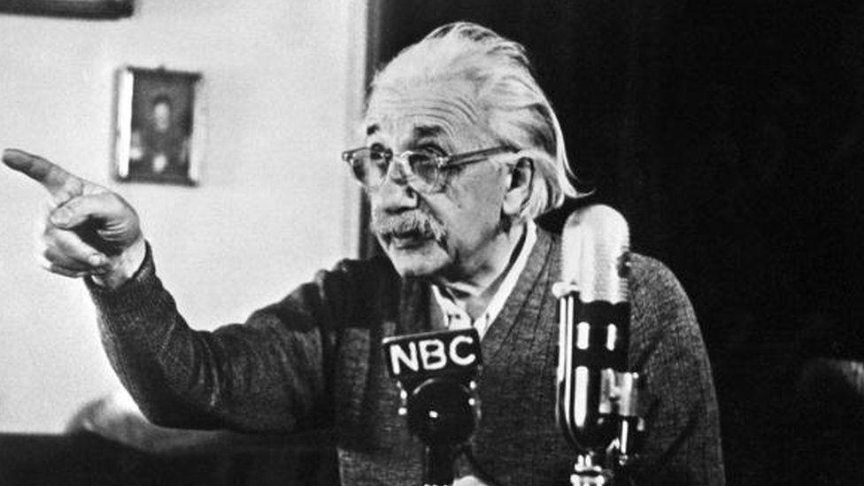 German-born Swiss-US physicist Albert Einstein in Princeton (14 February 1950)