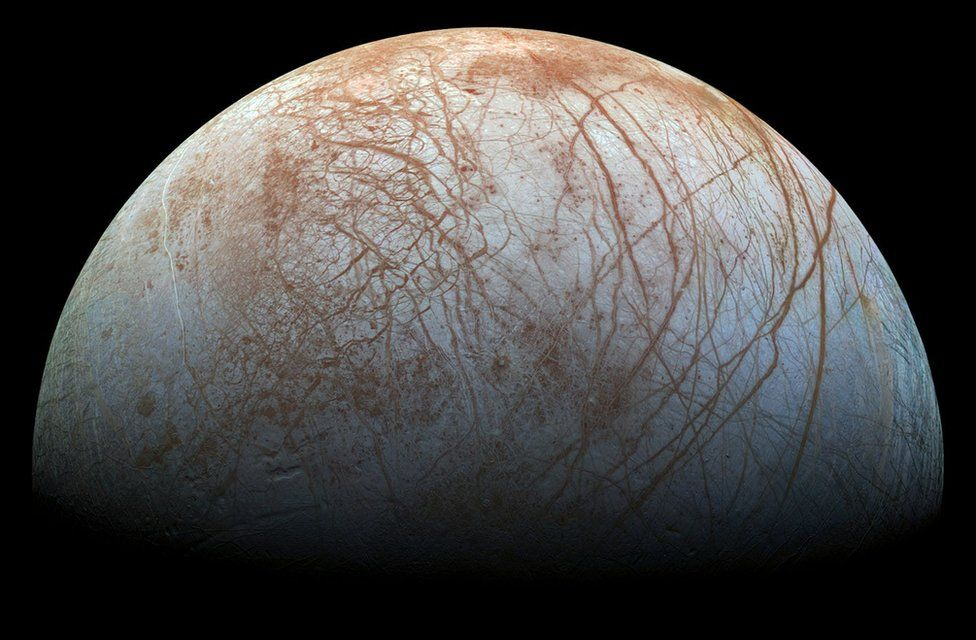 View of Europa taken in the 1990s by the Galileo spacecraft