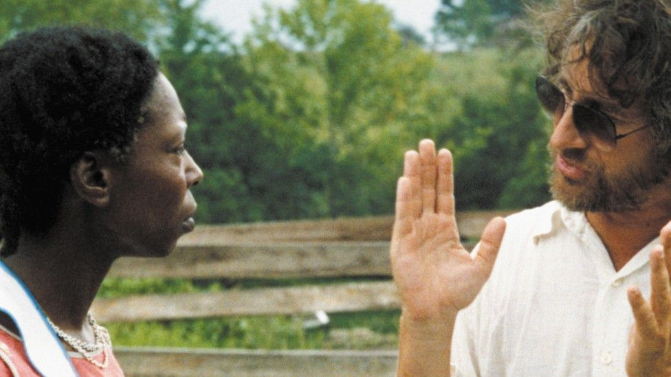 Steven Spielberg and Whoopi Goldberg on the set of The Color Purple