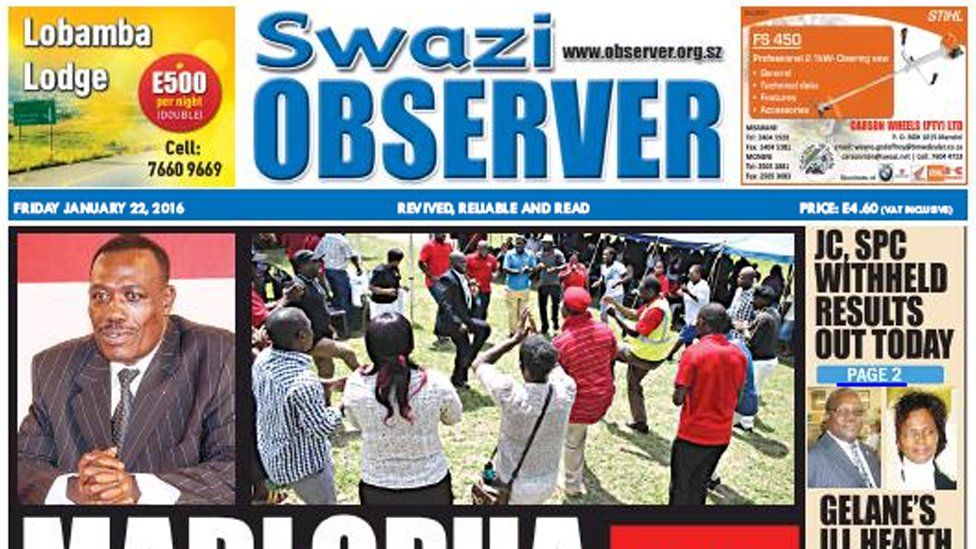 Front page of Swazi Observer