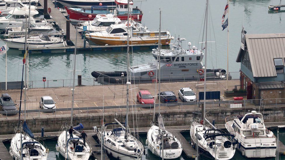 View of a Border Force patrol boat in Dover Marina, Kent, following seven suspected migrants being rescued from a dinghy off the Kent coast