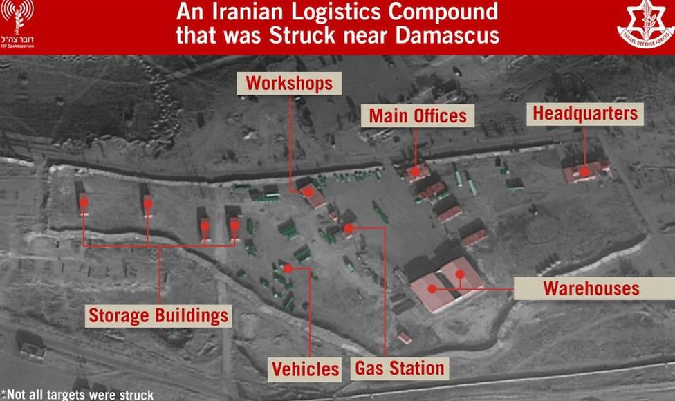 Israel Defense Forces images of targets struck in Syria