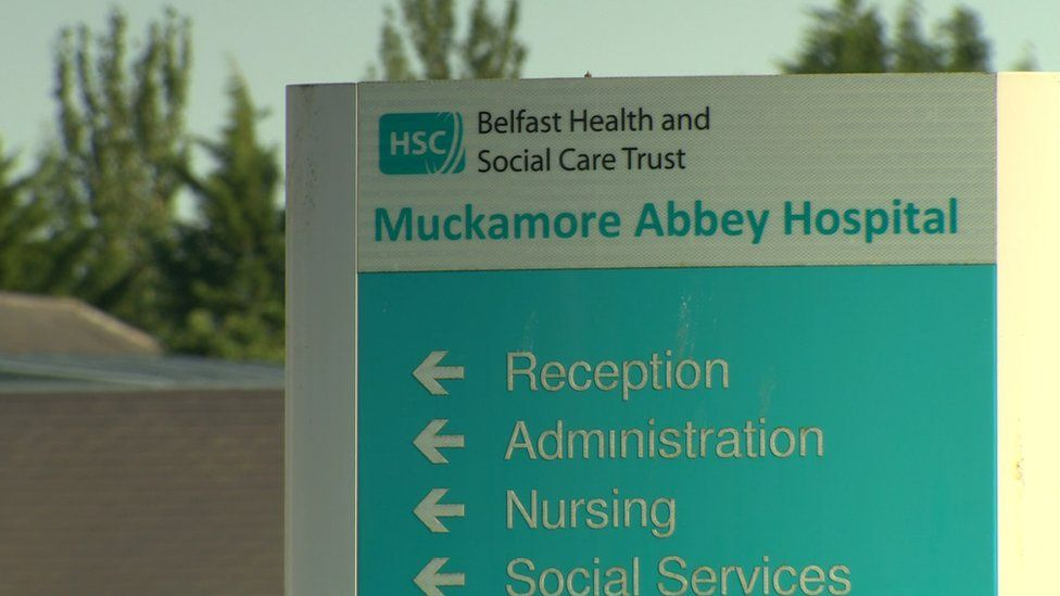 A sign at Muckamoire Abbey Hospital
