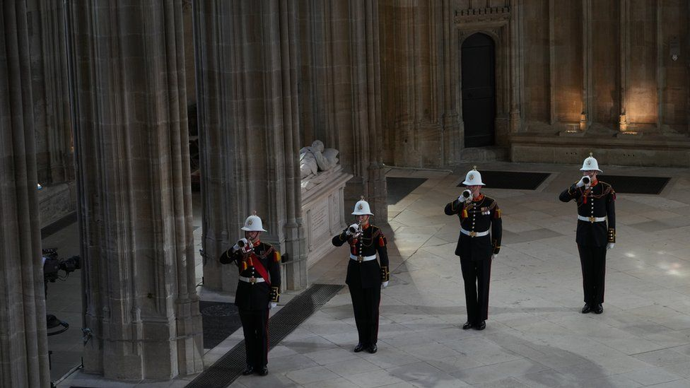 Buglers of the Royal Marines during the funeral of the Duke of Edinburgh in St George's Chapel