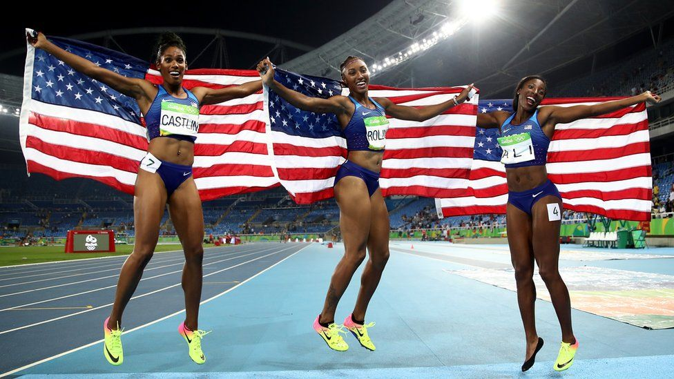 USA women celebrate gold silver and bronze in 100m women's hurdles