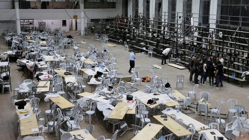 A view inside a synagogue where tiered seating collapsed during a religious celebration in Givat Zeev, in the occupied West Bank, May 16, 2021