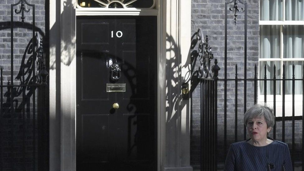 Theresa May addresses media