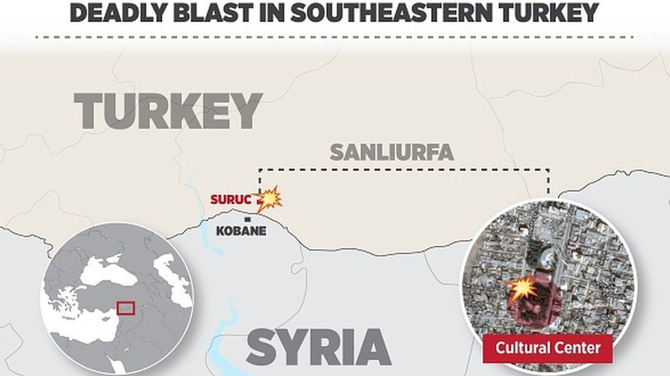 An infographic about a bomb blast in Turkey